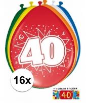 Feestartikelen 40 jaar ballonnen 16x sticker