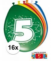 Feestartikelen 5 jaar ballonnen 16x sticker