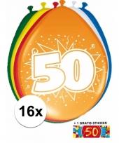 Feestartikelen 50 jaar ballonnen 16x sticker