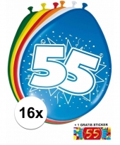 Feestartikelen 55 jaar ballonnen 16x sticker