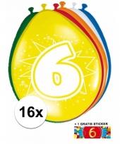 Feestartikelen 6 jaar ballonnen 16x sticker