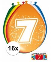 Feestartikelen 7 jaar ballonnen 16x sticker