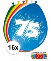 Feestartikelen 75 jaar ballonnen 16x sticker