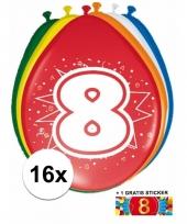 Feestartikelen 8 jaar ballonnen 16x sticker