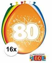 Feestartikelen 80 jaar ballonnen 16x sticker