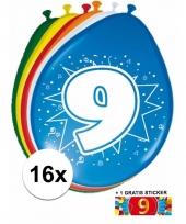 Feestartikelen 9 jaar ballonnen 16x sticker