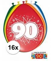 Feestartikelen 90 jaar ballonnen 16x sticker
