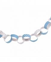 Feestartikelen papieren ketting slinger blauw
