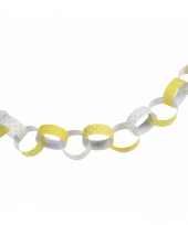 Feestartikelen papieren ketting slinger geel