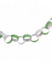 Feestartikelen papieren ketting slinger groen