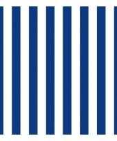Feestartikelen servetten gestreept marineblauw wit 3 laags 20 st