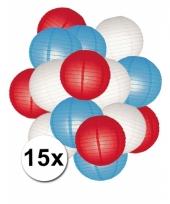 Feestpakket met rood wit en blauwe lampionnen