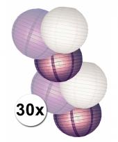 Feestpakket met witte en paarse lampionnen