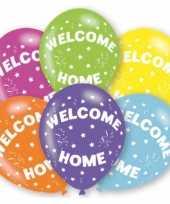 Feestversiering gekleurde welkom thuis ballonnen 6 stuks