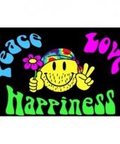 Feestvlag peace love happiness