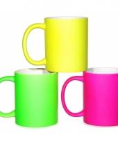 Felgekleurde neon mok 9 5 cm