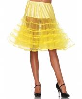 Fifties thema lange petticoat geel voor dames