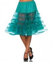 Fifties thema lange petticoat jade groen voor dames
