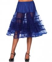 Fifties thema lange petticoat kobalt blauw voor dames