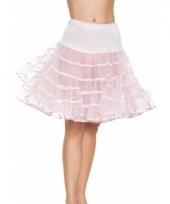 Fifties thema lange petticoat licht roze voor dames