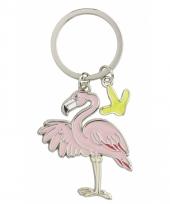 Flamingo sleutel hangertje 5 cm
