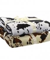 Fleece deken beige met koeienprint print 130 x 170 cm