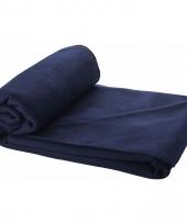Fleece plaid donkerblauw 150 x 120 cm