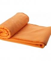 Fleece plaid oranje 150 x 120 cm