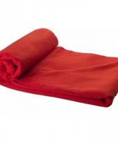 Fleece plaid rood 150 x 120 cm