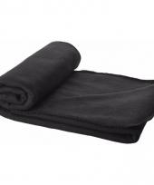 Fleece plaid zwart 150 x 120 cm