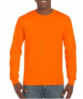 Fluoriserend oranje t-shirt lange mouwen van gildan