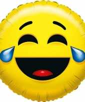 Folie ballon huilen van het lachen smiley 35 cm
