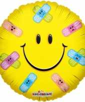Folie ballon smiley met pleisters 35 cm