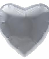 Folie ballon zilver hart 45 cm