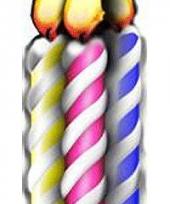 Foto bord van verjaardags kaarsen
