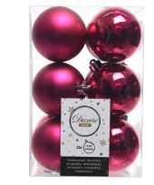 Fuchsia roze kerstversiering kerstballen 24x kunststof 6 cm