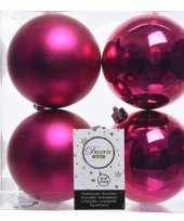 Fuchsia roze kerstversiering kerstballen kunststof 10 cm