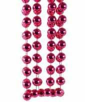 Fuchsia roze kerstversiering kralenketting 270 cm
