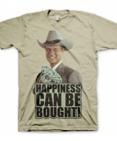 Fun shirt happiness can be bought khaki