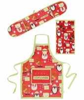 Funny keukentextiel set 3 delig rood groen