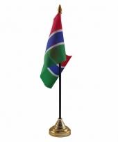 Gambia tafelvlaggetje 10 x 15 cm met standaard