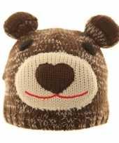 Gebreide berenmuts met pompon oren bruin voor kinderen