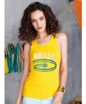 Geel mouwloos dames shirt brazil 10048402