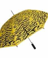 Geel zwarte tijger print paraplu 80 cm