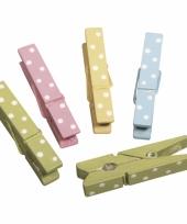 Gekleurde houten wasknijpers 12x