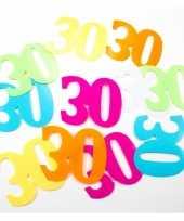 Gekleurde mega confetti 30 jaar 24 stuks
