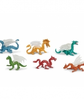 Gekleurde plastic draken 6 stuks