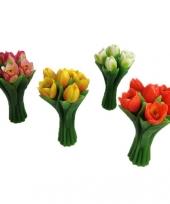 Gekleurde tulpen drijfkaarsen 22 cm
