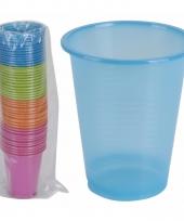 Gekleurde wegwerp bekers 200 ml set van 50