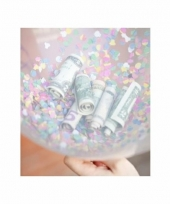 Geld kado hartjes ballonnen met confetti